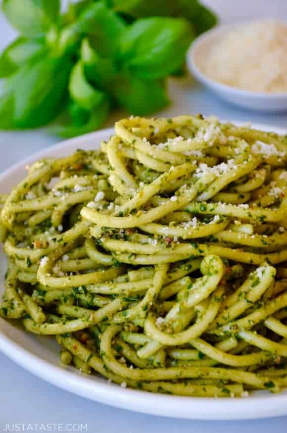 The Best Basil Pesto Pasta | Just a Taste