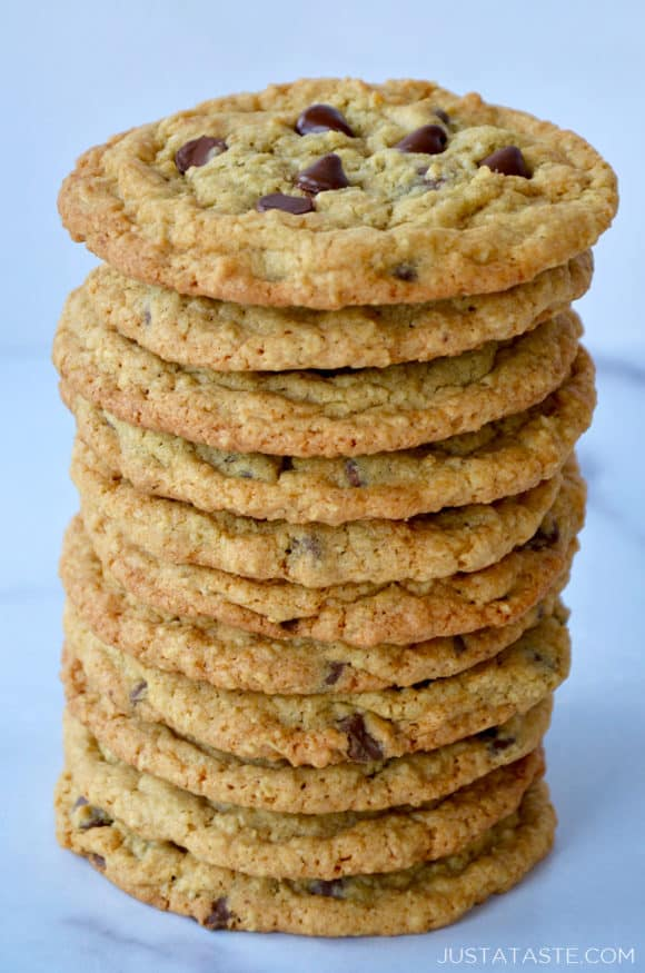 Tall stack of Blended Oatmeal Chocolate Chip Cookies