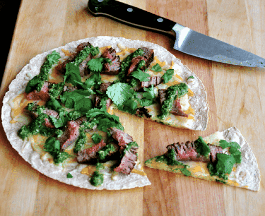 Open-Face Steak Quesadilla with Chimichurri Sauce