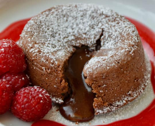 Chocolate Lava Cakes with Raspberry Sauce