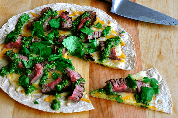 Open-Face Steak Quesadilla with Chimichurri Sauce #recipe