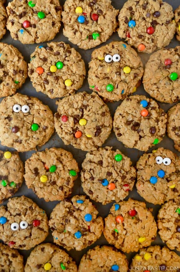 Monster Cookies studded with mini chocolate chips and M&Ms