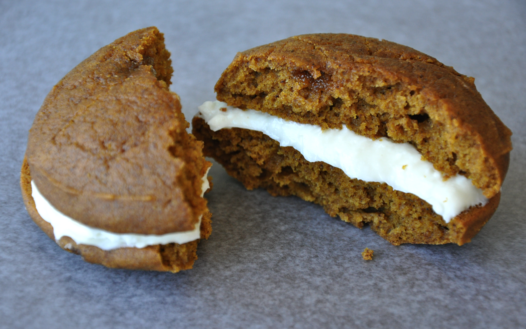 Pumpkin Whoopie Pies with Cream Cheese Frosting | Just a Taste