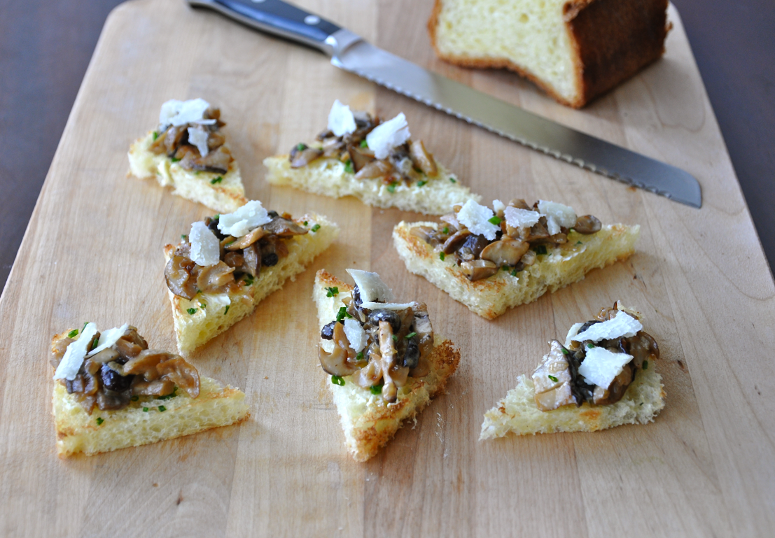 Sauteed Mushrooms on Buttered Chive Toast | Just a Taste