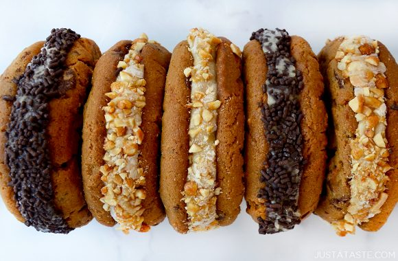 A top-down close-up view of peanut butter and banana ice cream sandwiches
