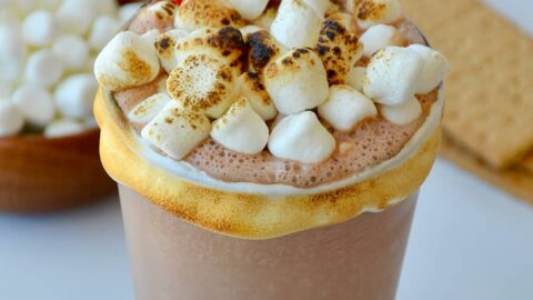 S'Mores Milkshake with toasted mini marshmallows and graham cracker garnish