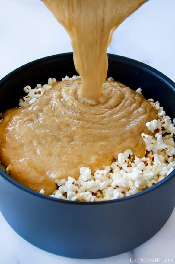 Homemade caramel over freshly popped popcorn