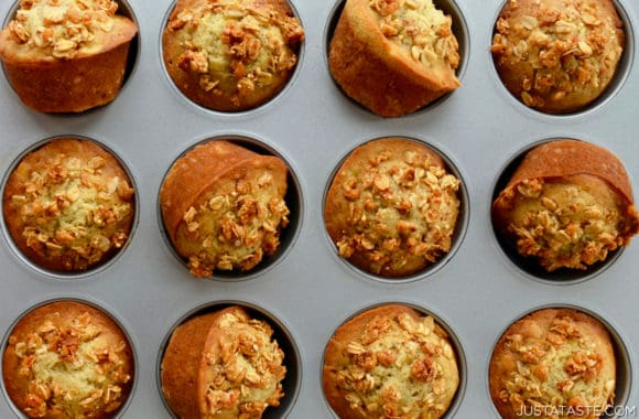 Top down view of homemade Banana Granola Muffins in muffin pan