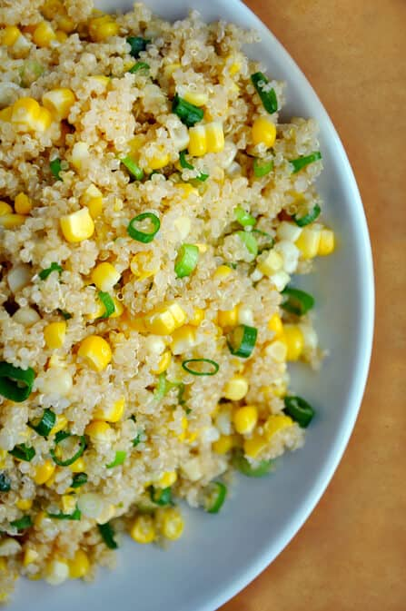 quinoa with corn and scallions just a taste