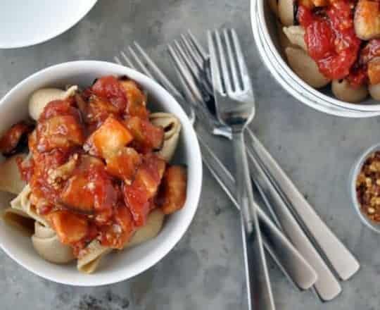 Pasta Arrabiata with Roasted Eggplant
