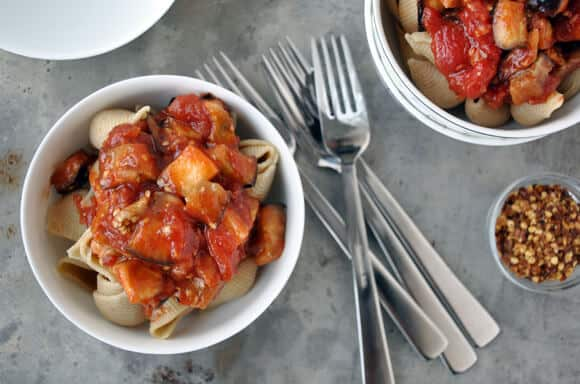 Pasta with Roasted Eggplant Arrabiata Sauce