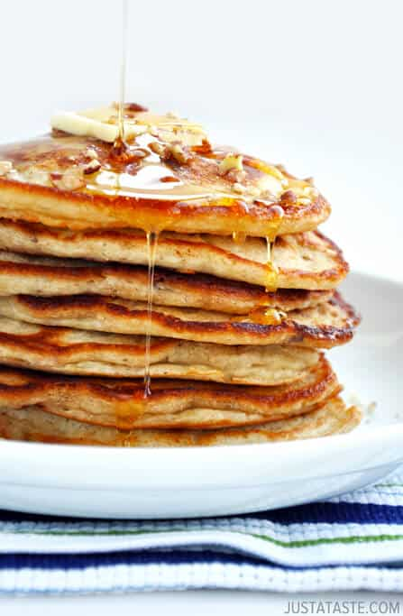Banana Nut Pancakes from justataste.com #recipe