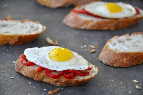 Quail Egg and Roasted Pepper Crostini