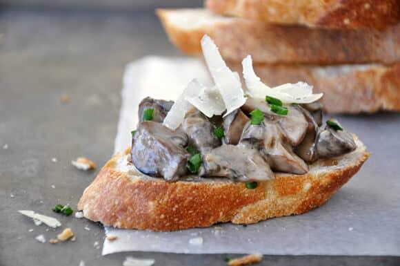 Creamy Mushroom and Parmesan Crostini