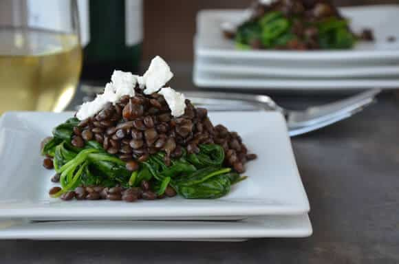 MONDAY: Lentils with Spinach and Goat Cheese