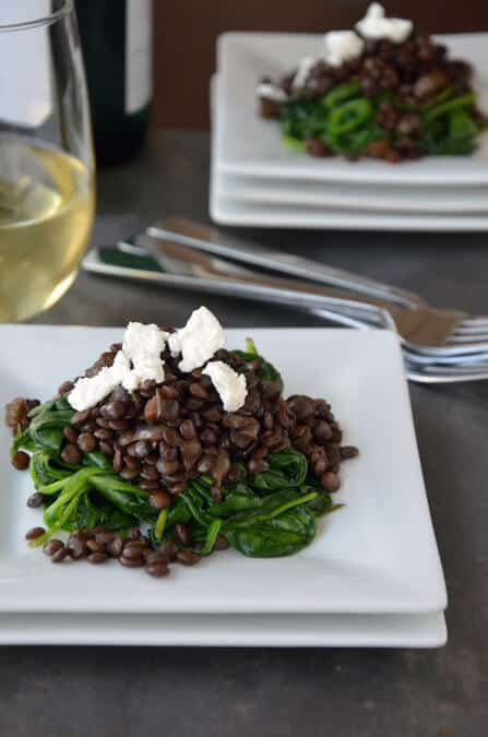 Green Lentils with Goat Cheese and Spinach