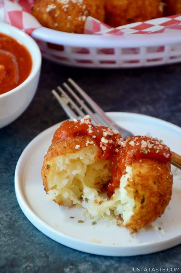 Easy Arancini Rice Balls with marinara sauce