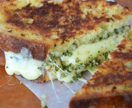 Homemade Irish Soda Bread Grilled Cheese with Pesto