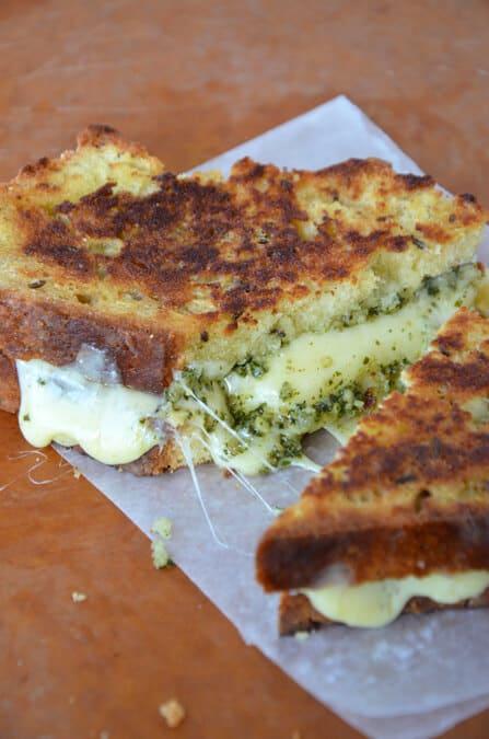 Homemade Irish Soda Bread Grilled Cheese with Pesto