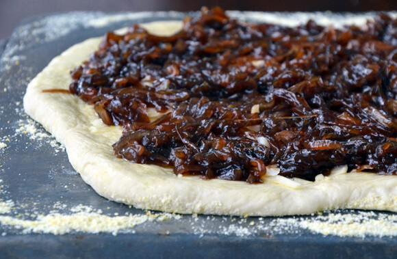 Caramelized balsamic onion pizza