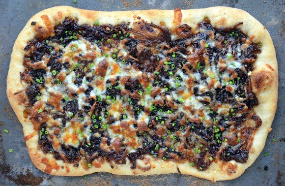 Caramelized Balsamic Onion and Gruyere Pizza #recipe