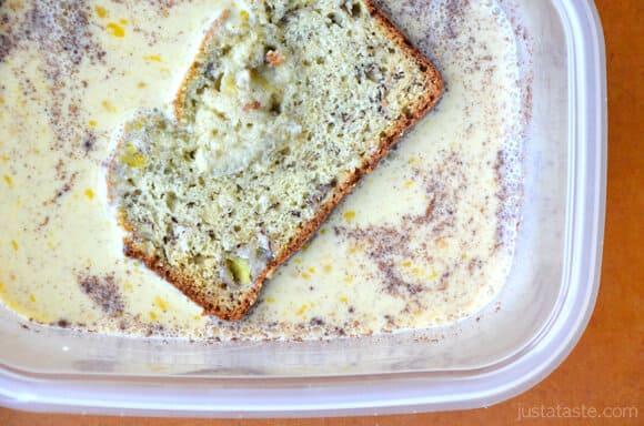 Banana bread in eggs