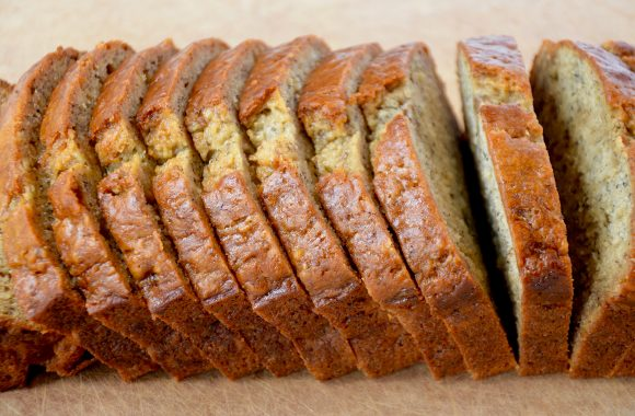 Sliced banana bread for French toast