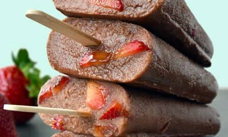 Chocolate-Covered Strawberry Fudgesicles