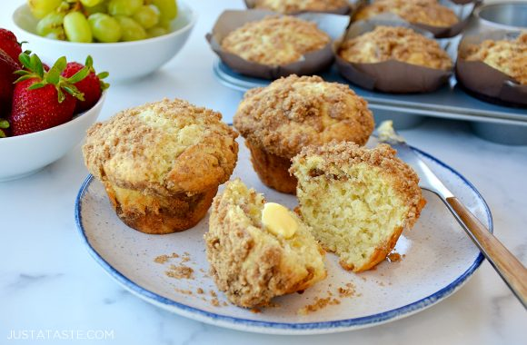 Easy sour cream coffee cake muffins with streusel on plate