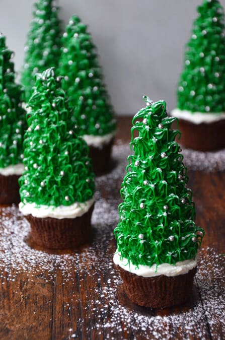 Christmas Tree Chocolate Cupcakes #recipe #video