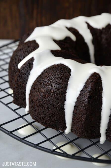 Chocolate Gingerbread Bundt Cake from justataste.com