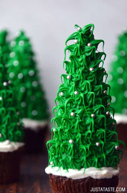 Christmas Tree Cupcakes Recipe from justataste.com