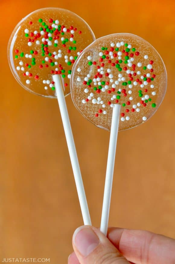 Homemade Holiday Lollipops with white, red and green sprinkles