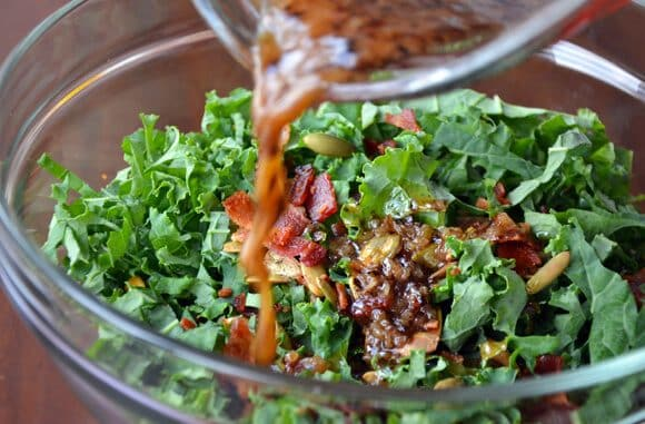 St. Patrick's Day: Raw Kale Salad with Warm Bacon Vinaigrette
