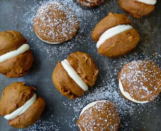The Best Pumpkin Whoopie Pies with Cream Cheese Frosting