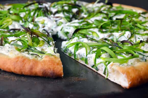 Shaved Asparagus and Ricotta Pizza #recipe