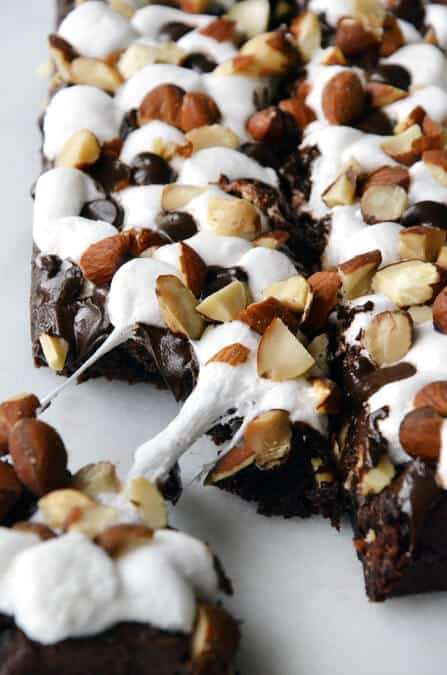 Marshmallow Brownies with Salted Almonds #recipe