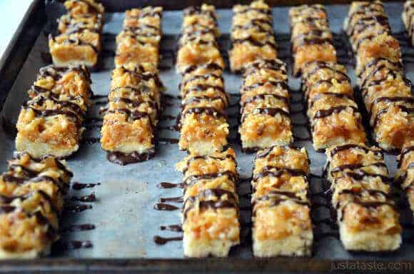 Homemade Samoas Girl Scout Cookie Bars