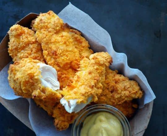 Baked Cheddar-Dijon Chicken Tenders