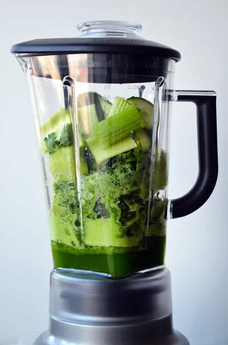Green Juice In A Blender Just A Taste