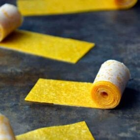 Healthy Homemade Mango Fruit Roll-Ups from justataste.com #recipe