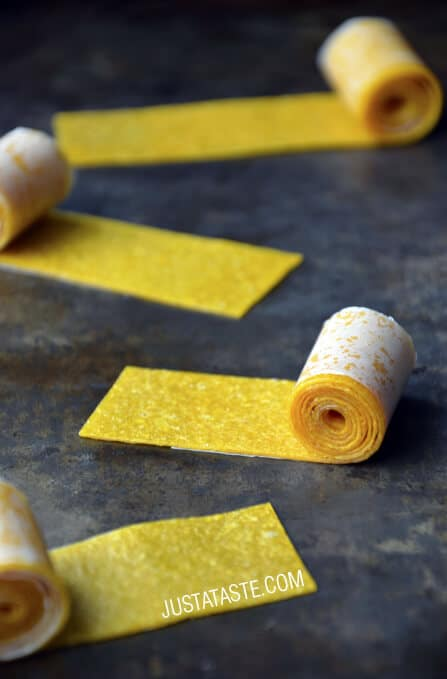 Healthy Homemade Mango Fruit Roll-Ups recipe on justataste.com