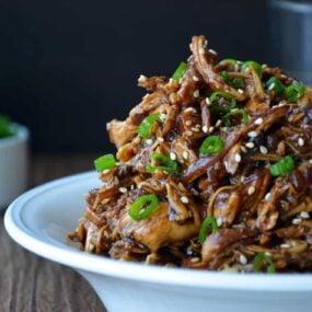 Slow Cooker Honey Garlic Chicken from justataste.com #recipe