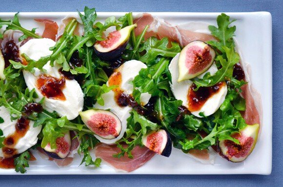 Just a Taste | Fig, Prosciutto and Burrata Cheese Salad