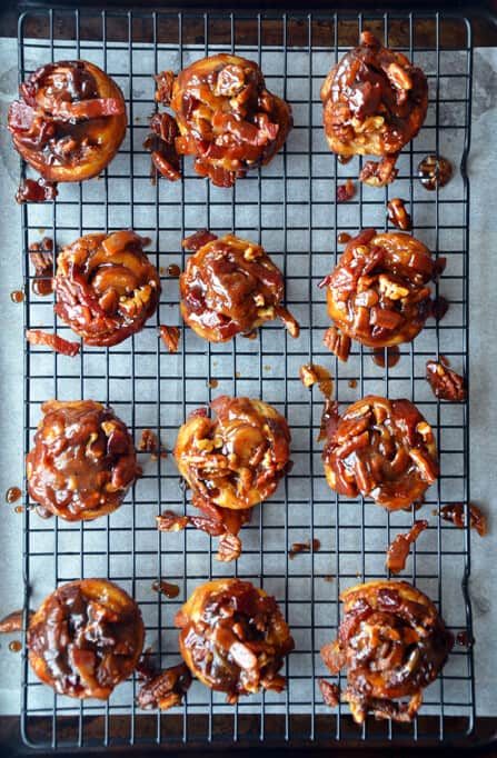 Easy Sticky Buns with Bacon from justataste.com