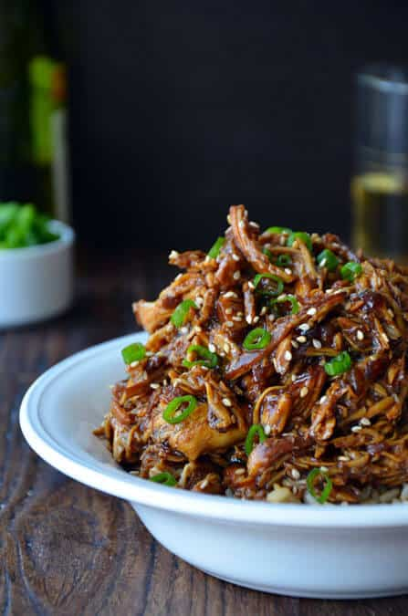 Slow Cooker Honey Garlic Chicken from justataste.com #recipe