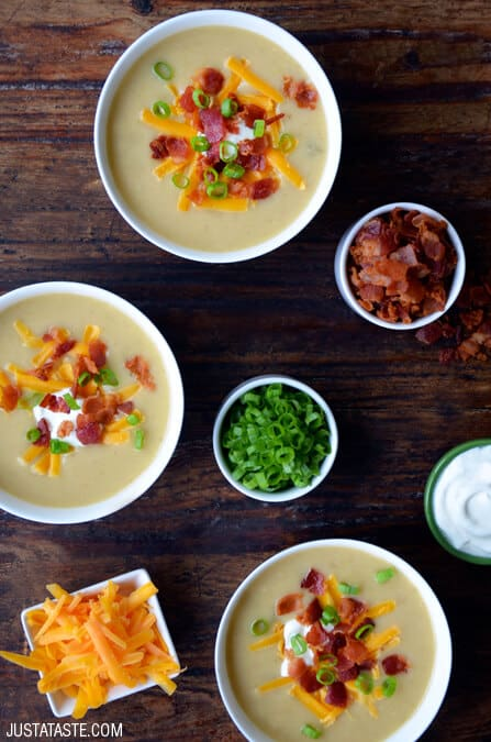 Loaded Baked Potato Soup Recipe from justataste.com