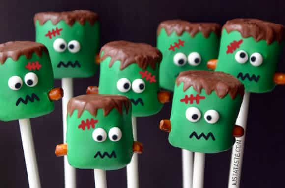 Halloween Marshmallow Pops from justataste.com
