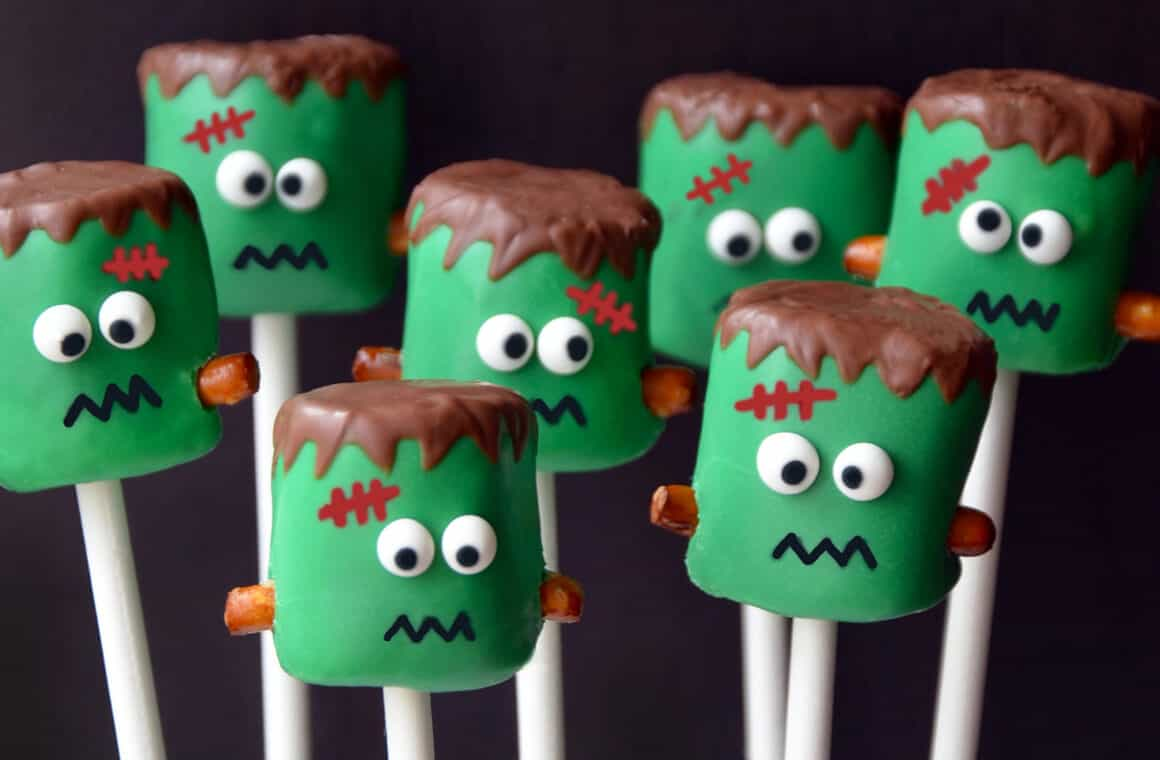 Frankenstein Marshmallow Pops | Just a Taste