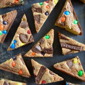 Leftover Halloween Candy Blondies cut into triangles